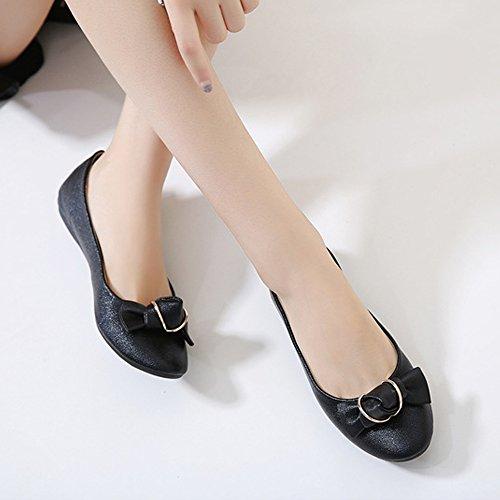 OCHENTA Women's Comfort Slip On Fashion Bows Ballet Flats Dress Shoes Black 4JduaScFN