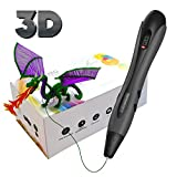 3D Pen, 3D Printing Pen with LED Display Simple Handled 3D Pens for Kids Adults, 3 Adjustable Speed Drawing Print & Temperature Control, Non-Clogging - 2019 Upgrade