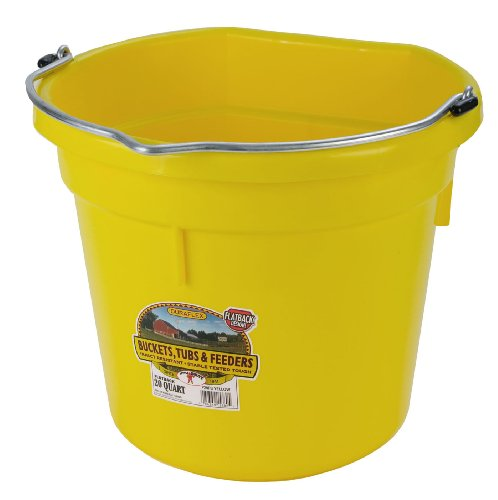 Bucket Quart Flat 20 - Miller Manufacturing P20FBYELLOW Plastic Flat Back Bucket for Horses, 20-Quart