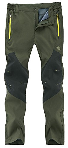 Singbring Men's Outdoor Lightweight Waterproof Hiking Mountain Pants Medium Army Green