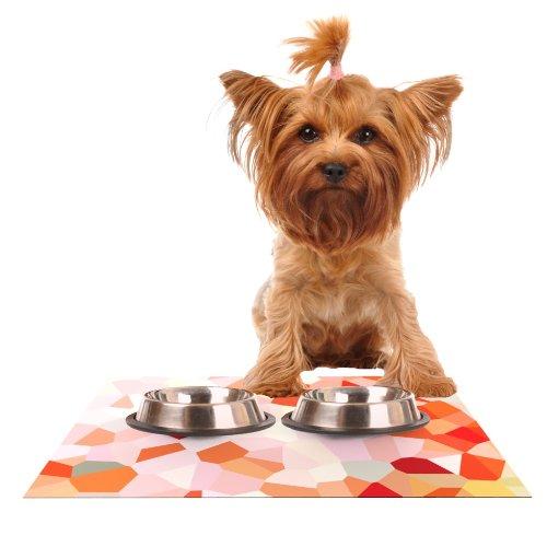 KESS InHouse Iris Lehnhardt Oooh La La  orange Pixel Feeding Mat for Pet Bowl, 24 by 15-Inch