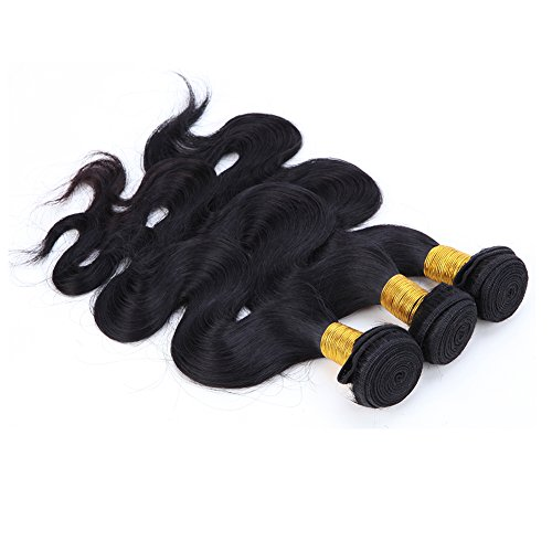 No Sew Indian Costume (100% Unprocessed Virgin Brazilian Hair Extensions Grade 6A Quality 14-24inch Weave Weft Thick Body Wave Hairs, #1B Natural Black 3 Bundles 300g, Mixed Length 14