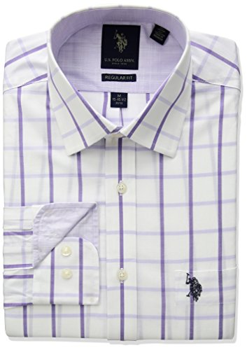 U.S. Polo Assn. Men's Regular Fit Check Or Plaid Semi Spread Collar Dress Shirt