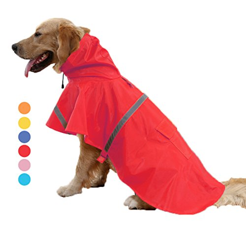 - GabeFish Labrador German Shepherd Small Large Breeds Dogs Raincoat Pets Waterproof Jacket Poncho With Strip Reflective Red XL