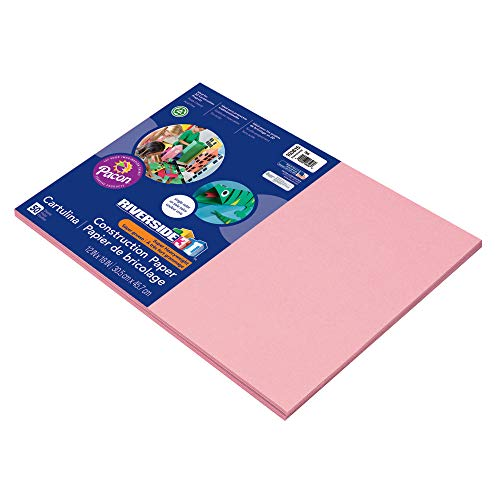 Riverside 3D Construction Paper, Pink, 12