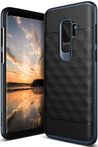 Galaxy S9 Plus Case, Caseology [Parallax Series] Slim Protective Dual Layer Textured Cover Secure Grip Geometric Design for Samsung Galaxy S9 Plus (2018) - Black/Deep Blue by Caseology