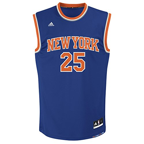 adidas NBA Men's New York Knicks Derrick Rose Replica Player Road Jersey, Medium, Blue