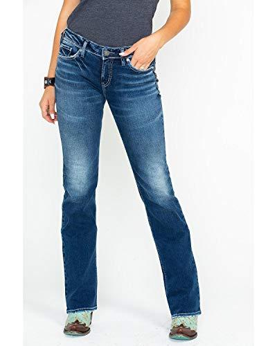 Low Slim Bootcut Rise Jean - Silver Jeans Co. Women's Suki Curvy Fit Mid Rise Slim Bootcut Jeans with Flap Pockets, Low Stretch Medium Indigo 30x33