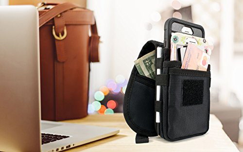 Cell Phone Dual Case Pouch Double Decker Fits Two iPhone 8 Plus 7 Plus, 6/6S Plus Note 8 W/ Case or Similar (1st Phone Measuring 159 x 80 x 9mm & 2nd measuring 165 x 85 x 16mm or (Dual Case)