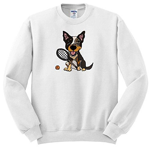 All Smiles Art Pets - Funny Cute Australian Cattle Dog Playing Tennis Sports - Sweatshirts - Adult SweatShirt XL (ss_256456_4) ()