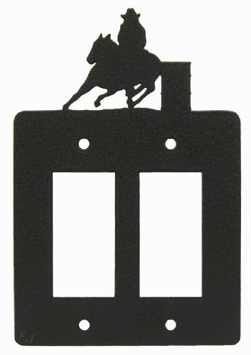 Innovative Fabricators, Inc. Barrel Race Double GFI Rocker Light Switch Plate Cover (b) by Innovative Fabricators, Inc.