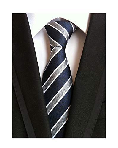 Men Boys Navy Blue Grey White Jacquard Woven Silk Self Tie Business Formal Necktie