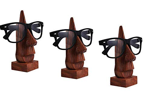 Set of 3 Wooden Spectacle Holder, Eyewear Holder, Eyeware Retainer Holder, Sunglasses Stand, Goggles Holder Perfect for Family by WhopperIndia