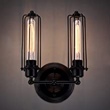 """Industrial Pipe Vintage Edison Wall Lamp - LITFAD 2 Heads 4.5"""" Retro Rustic Punk Steam Wall Sconce Wall Mounted Light"""