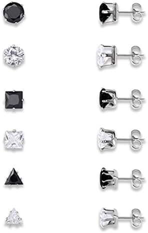 YiYi Operation 6 Paris 6mm Polygon Pierced CZ Stud Earring Jewelry Sets Inlaid Womens Engagemen
