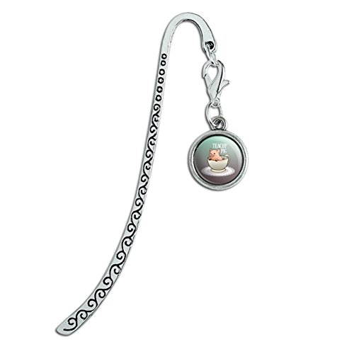 Silver Charm Bookmarks (Teacup Pig Metal Bookmark Page Marker with Charm)