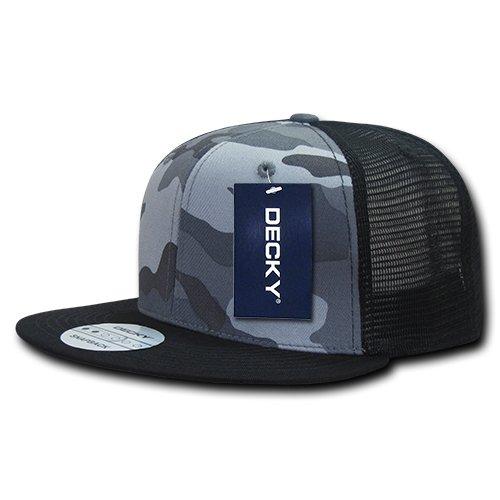 Camo Trucker Hat - DECKY 1055-BUB Cotton Flat Bill Trucker, blk/Urb/blk, Black/Urban/Black