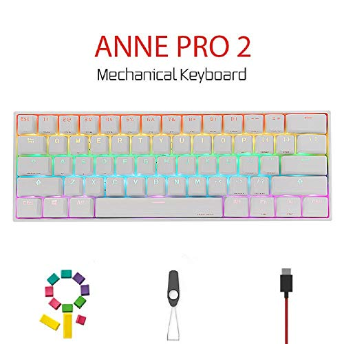 CORN Anne Pro 2 Mechanical Gaming Keyboard 60% True RGB Backlit – Wired/Wireless Bluetooth 5.0 PBT Type-c Up to 8 Hours…
