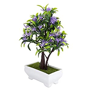 GLOGLOW Artificial Bonsai Flower Pot Fake Silk Flower Tree Plant for Wedding Holiday Home Decor 7