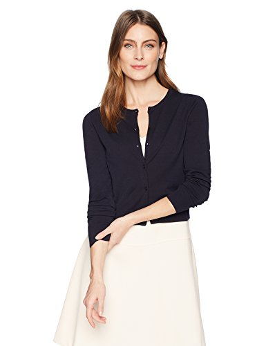 Lark & Ro Women's Lightweight Long Sleeve Cropped Cardigan Sweater