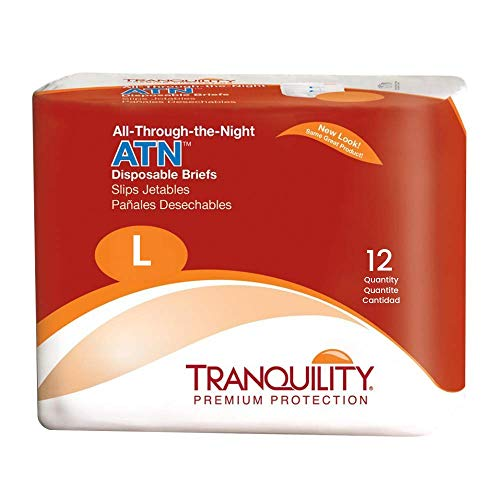 Tranquility ATN Adult Disposable Briefs with All-Through-The-Night Protection, L (45-58) - 72 ct (Pack of 6)