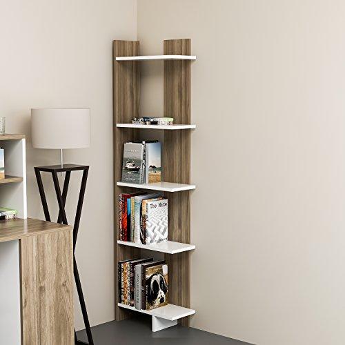 Modern Bookshelf Design - Decorotika Alice 5-Tier Corner Bookcase Bookshelf, Storage and Organizer for Living Room, Dining Room, Bedroom, Kitchen and Bathroom, Multiple Use Option, Modern Design (Walnut)