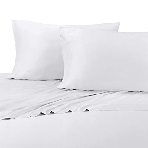 Silky Soft Bamboo Sheets, 600 Thread Count, 100% Viscose from Bamboo Sheet Set, Split-King : Adjustable King, White For Sale