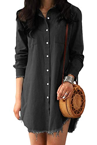 sandanper Women Long Sleeve Tunic Dress Denim with Pockets (L, Black-Gray)