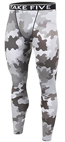 New Men Skin Tights Compression Base Under Layer Sports Running Long Pants (M, NP541 CAMO)