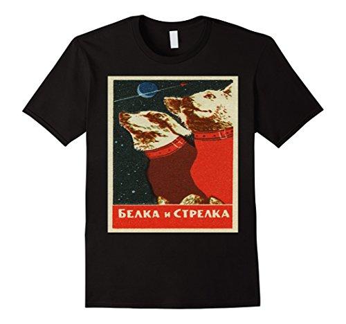 Mens SPACE DOGS - Soviet Program Russian, USSR, Laika Shirt Large Black