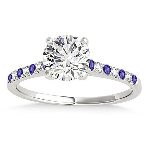 - Diamond and Tanzanite Single Row Engagement Ring 14k White Gold (0.11ct)