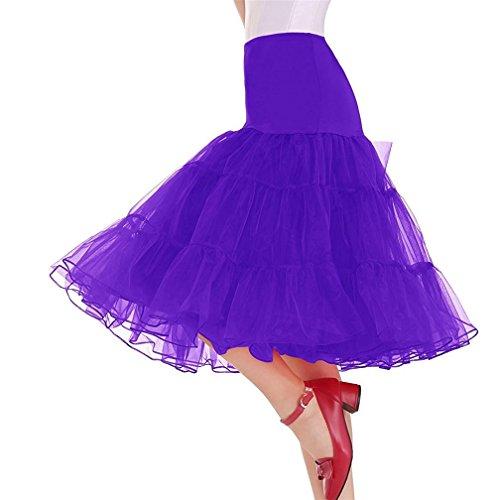 LeaLac Women's Fashion Summer 50s Vintage Petticoat Skirts Crinoline Tutu Skirt Tulle Underskirts L36-TS024 Purple (Taffeta Tutu)
