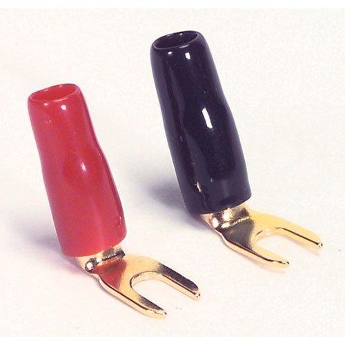 Parts Express Gold Spade Lug Crimp Terminal Right Angle 10 AWG #8 2 Pair