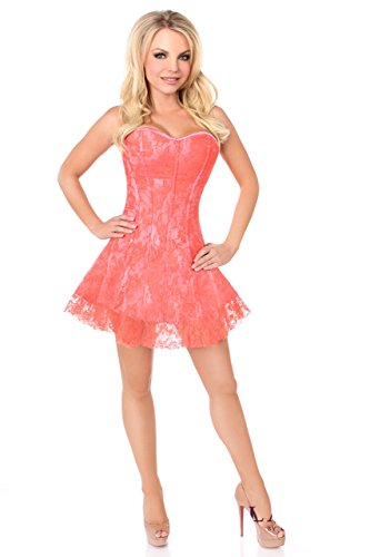 Daisy corsets Lavish Coral Lace Corset Dress