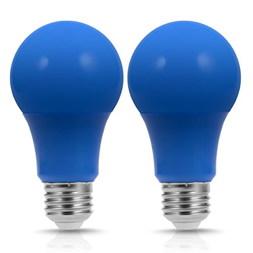 JandCase A19 Blue LED Light Bulb, 40W Equivalent, 5W, Color Light Bulbs with E26 Medium Base, Porch, Home Lighting, Party Decoration, 2 Pack