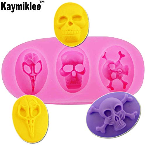 1 piece Kaymiklee F1192 Hot Selling FDA 3Pcs 3 hole Halloween skull silicone resin mold cake mould polymer clay handmade soap mold ()
