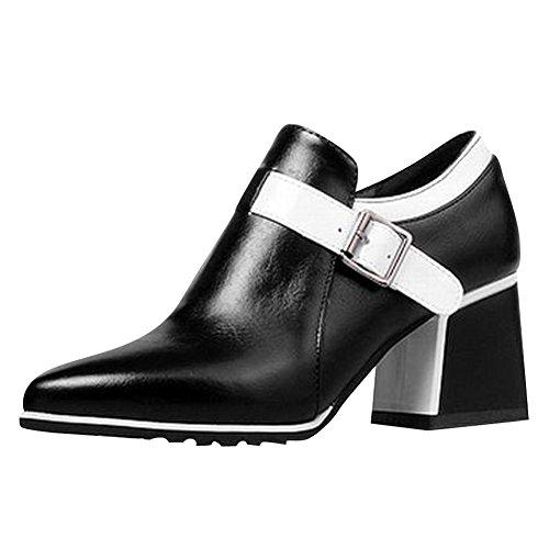 Carol Chaussures Femmes Fermeture À Glissière Couleurs Assorties Bout Pointu Chunky Talon Cheville Bottes Boucle Blanche