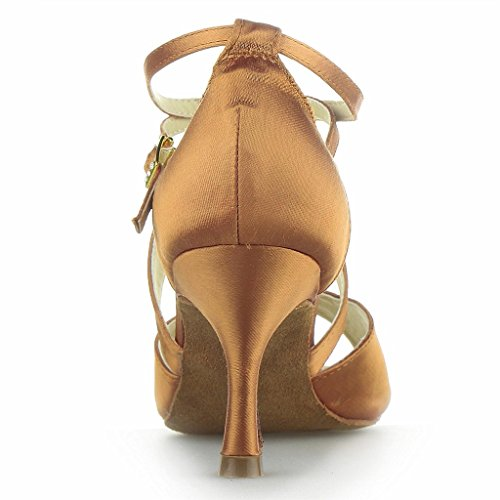 Monie Women's Salsa Ballroom Latin Tango Dance Shoes 3 Inch Flare Heel Brown OWsbVJ5T