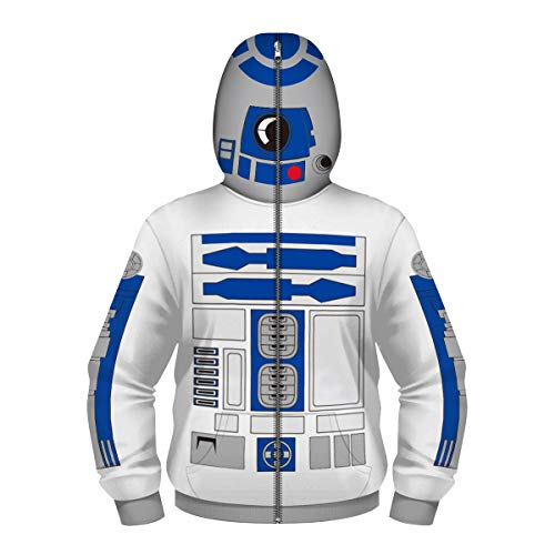 Sleeve Youth Star Long - Unisex Kids Long Sleeve 3D Digital Print Stars Wars Robot FightersCosplay Full Face Cover Zipper Hoodies (S,White)