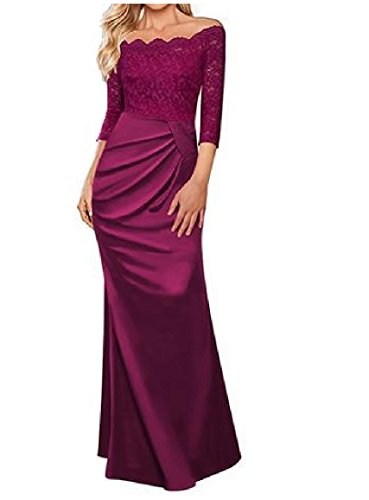 Tootlessly Women's Off Shoulder Floor Length Maxi Evenning Solid Trim Dress Wine Red XL