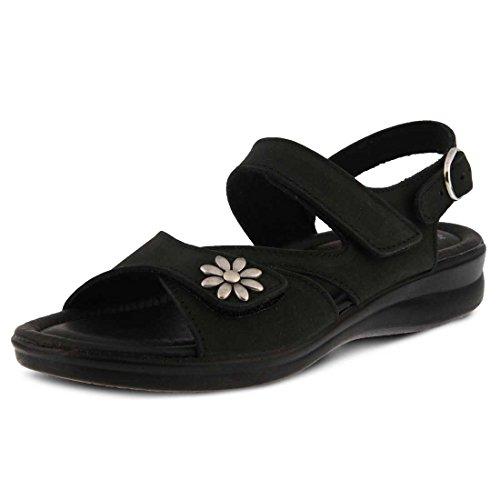 Flexus By Spring Step Womens Sandalo Con Tacco Mukava Nero Nabuk