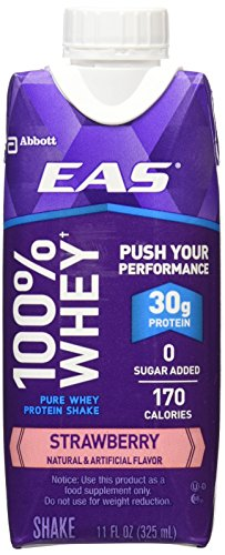 EAS 100% Whey Ready-to-Drink Protein Shake, Strawberry, 11 fl oz, 12 (100% Strawberry)