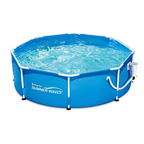 Summer Waves 8ft x 30in Round Metal Frame Above Ground Swimming Pool & Pump