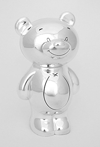 NEW BEAR PIGGY COIN BANK WITH SILVER PIGGY BANK ENGRAVING TEDDY GIFT FOR KIDS MONEY BOX + BRILLIBRUM® FLYER (Coin Bank with engraving (25 characters))