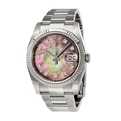 Rolex Oyster Perpetual 36 mm Black Mother of Pearl Dial Stainless Steel Rolex Oyster Automatic Ladies Watch 116234BKMDO