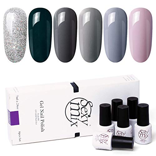 SEXY MIX Soak Off UV Gel Nail Polish Set, Nude Gray 6 Colors Tiny Bottles, Popular Fall Colors Series Gel Polish in Winter Required Base Top Coat Cured Under UV/LED Nail Lamp 0.24 OZ