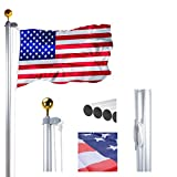 Voilamart 20 FT Sectional Flag Pole Heavy Duty Aluminum Outdoor In ground Flagpole with 3'5' American Flag and Gold Ball for Residential or Commercial Use (Tamaño: Small)