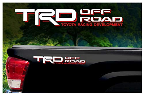 Toyota TRD Truck Off Road 4x4 Toyota Racing Tacoma Decal Vinyl Sticker (WHITE/RED) ()