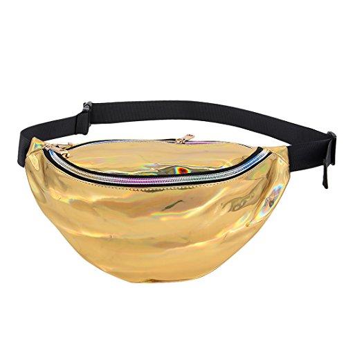 Multifit Creative Hologram Waist Bag Sports Outdoor Fanny Pack PU Bum Bag Purse(Gold)