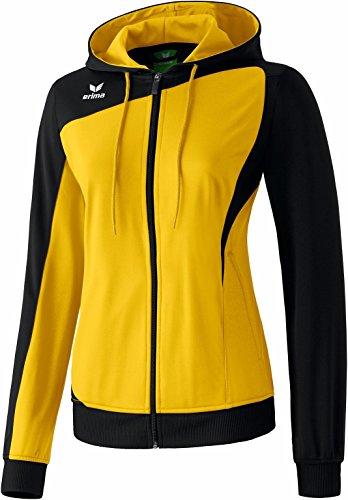 Erima Club 1900 - Sudadera deportiva para mujer (con capucha y cierre de cremallera), color negro y amarillo